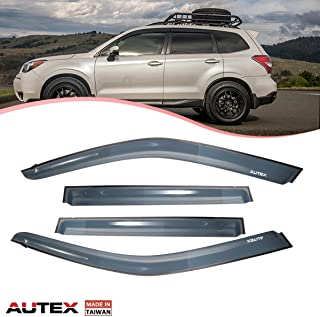 AUTEX 4 Pcs Tape On Window Visor Compatible with Subaru Forester 2009 2010 2011 2012 2013 Window Deflector Visor Sun Rain Shade Wind Guard Made in Taiwan