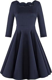 9413d8ac5c9 OUGES Womens 1950s Scalloped Neck Vintage Cocktail Dress