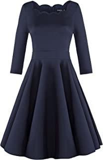 OUGES Womens 1950s Scalloped Neck Vintage Cocktail Dress