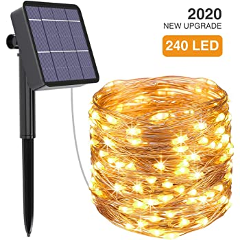 kolpop Solar String Lights, 78.7FT 240LED Solar Fairy Lights 8 Modes Copper Wire Solar Powered Fairy Lights Outdoor Waterproof for Christmas, Garden, Yard, Party, Camping, Patio, Tree (Warm White)