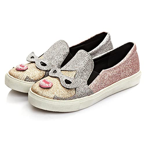 5d98f009b01347 DolphinBanana Women Cute Lips Fashion Sneaker Cosplay Glitter Slip-On  Loafer Casual Shoes Costume Footwear