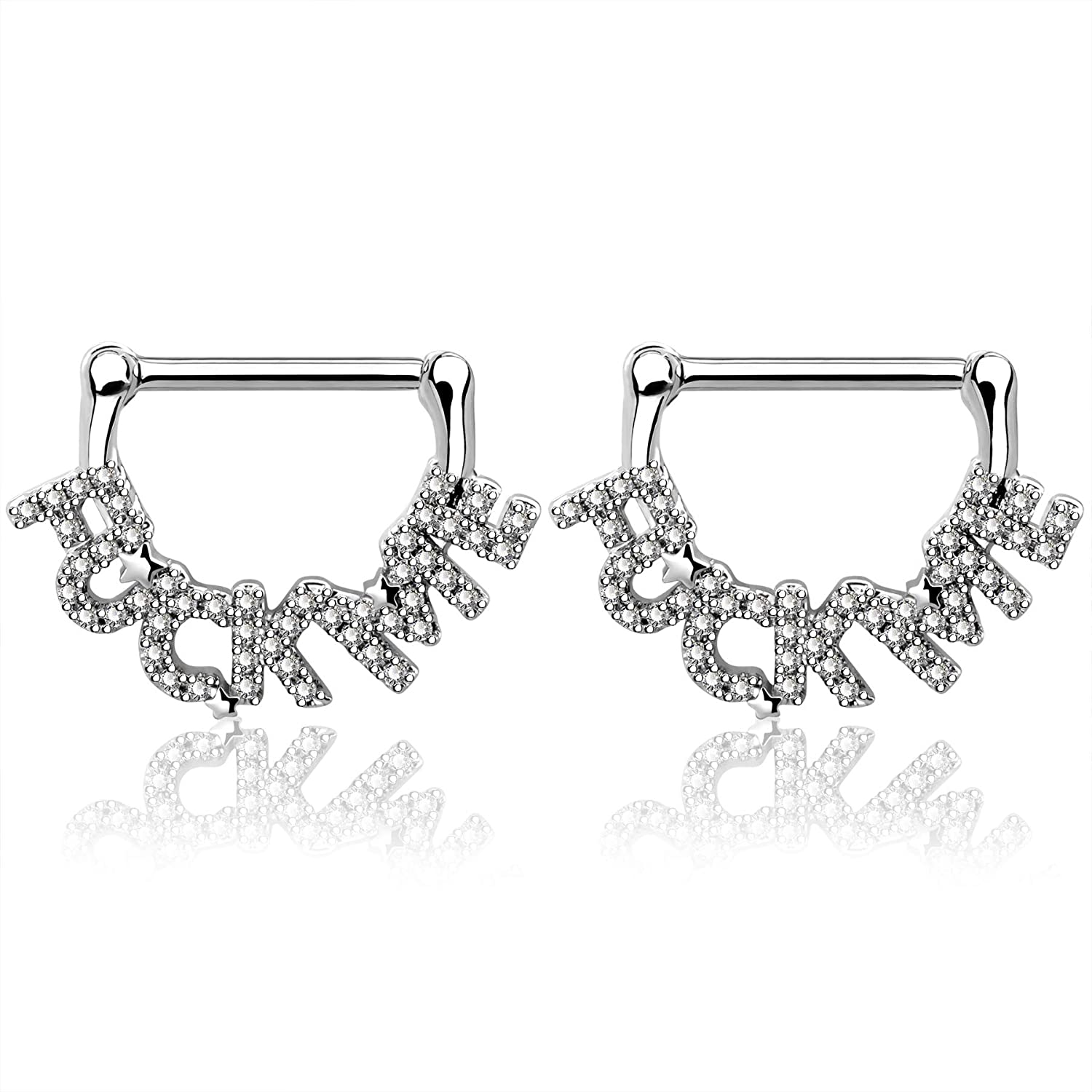 OUFER 2PCS Nipple Rings 14G Stainless Steel Letter Nipplerings with Clear CZ Nipple Piercing Jewelry