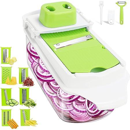 Mandoline de Cuisine 14pcs Coupe Legumes Multifonctions, Mandoline multifonctions Cuisine, Mandoline Professionnelle Cuisine pour Légumes Fromage Pomme De Terre