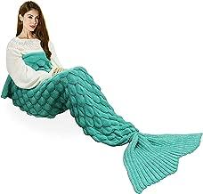 Handmade Mermaid Tail Blanket Crochet , T-tviva All Seasons Warm Knitted Bed Blanket Sofa Quilt Living Room Sleeping Bag for Kids and Adults(72.8
