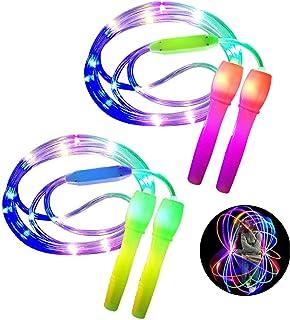 ANBET 2 stuks LED Light Up springtouw in lengte verstelbaar en drie lichtmodi Speed springtouw voor kinderen, Light Show, ...