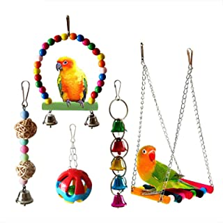 ANTOLE 5-Piece Set Parrot Toy Set Swing Hanging Toys Bird toys Cockatiel Parakeet Toys Bird Cage Accessory