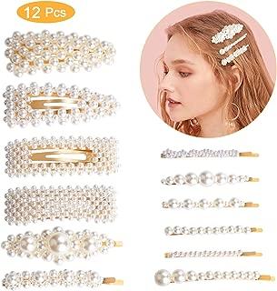 12 Pcs Clip de pelo perlas, Winpok Moda Clips de Pelo, Perlas Clips de Pelo Decorativos, para el Cabello Pasadores de Pelo para Mujer y Niña