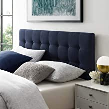 Modway Emily Tufted Button Linen Fabric Upholstered King Headboard in Navy