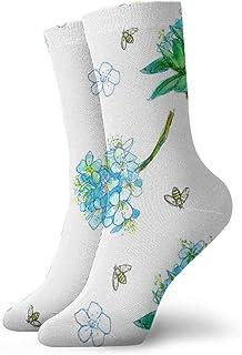 青い花の蜂_6536 絵画アートプリント面白いノベルティ動物カジュアルコットンクルーソックス11.8インチ