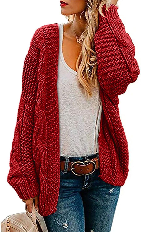 Goldweather Women Knit Cardigan Sweaters Long Sleeve Loose Oversized Open Front Knitted Cardigans Fall Winter Outwear Coat