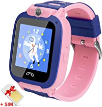 Ralehong Kids Smartwatches IP68 Waterproof LBS/GPS Tracker Smart Watch Phone,Calls SOS Camera Voice Chat Touch Screen for 3-13 Years School Girls Boys Christmas Birthday Gifts (2G SIM Card Included)