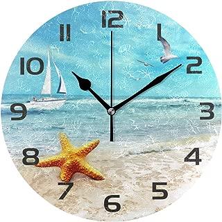 One Bear Wall Clock Arabic Numerals Design, Starfish Ship Seagull Beach Round Wall Clock for Living Room Bathroom Home Decorative