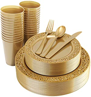 "IOOOOO 150 Pieces Gold Plastic Plates, Silverware and Gold Disposable Cups, Lace Design Plates Includes 25 Dinner Plates 10.25"", 25 Dessert Plates 7.5"",25 Forks, 25 Knives, 25 Spoons,25 Cups 9 oz"
