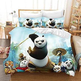 Juego de funda de edredón 823 con impresión 3D de Kung Fu Panda con cierre de cremallera, juego de 3 piezas con 2 fundas de almohada F-US Queen90 x 229 cm (229 x 229 cm), F, AU King96*83