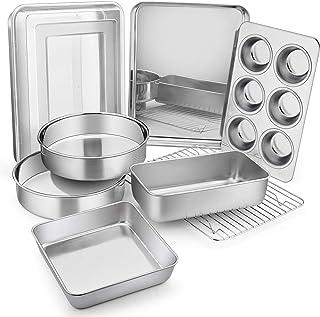 9-Piece Stainless Steel Bakeware Sets, E-far Metal Baking Pan Set Include Round/Square Cake Pans, Rectangle Baking Pan wit...