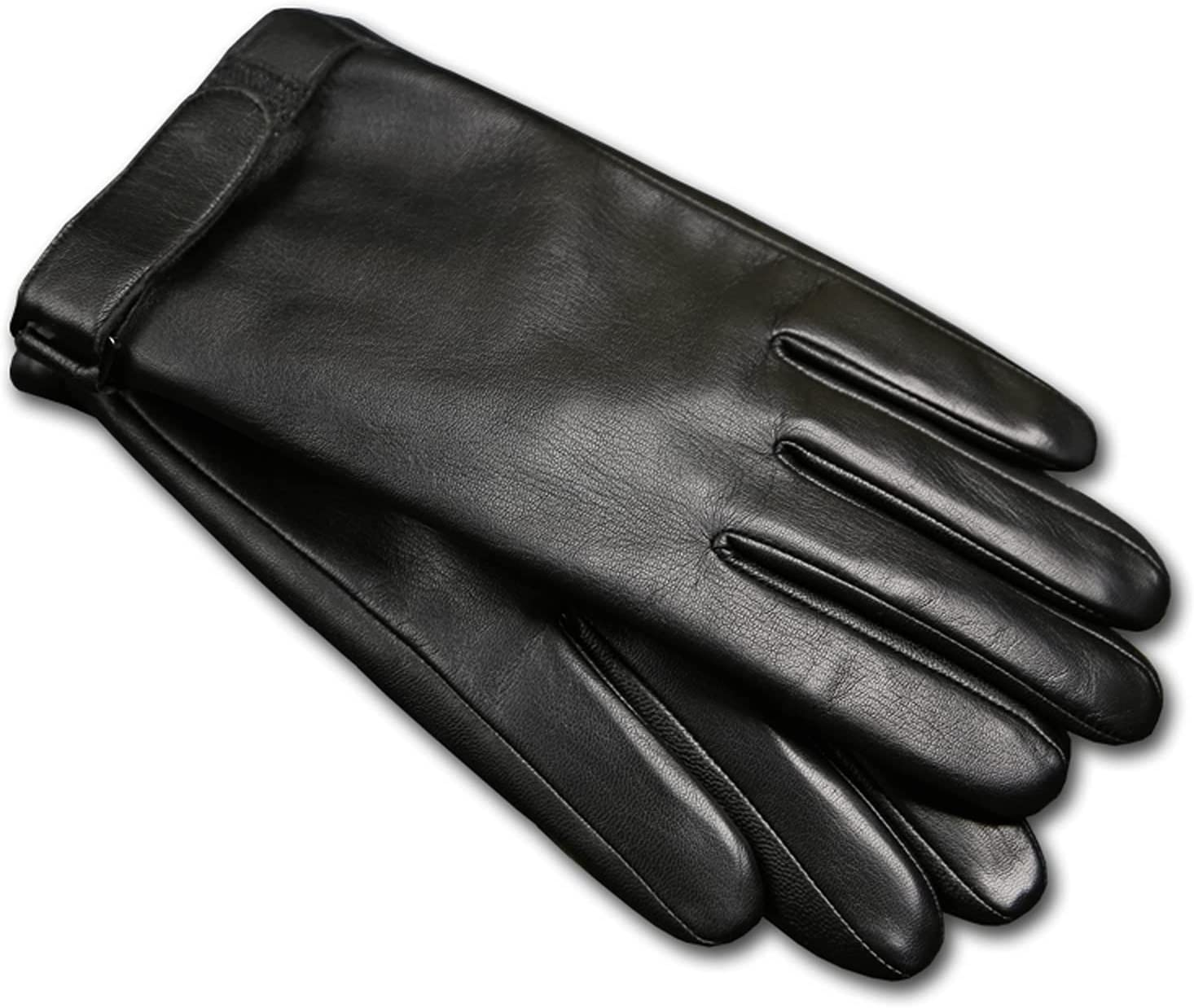 Jjshueryg Men's Winter Plush Thick Warm Gloves, Goatskin Leather Mitten, Windproof Leather Gloves That Can Touch Screen Motorcycle Driving and Riding