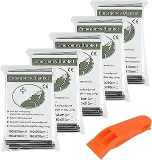 5 x Manta Térmica de Emergencia de Alta Calidad Empaquetada Individualmente - Reflectante para Mantener el Calor del Cuerpo - Perfectas para Exteriores, Senderismo, Supervivencia, Primeros Auxilios