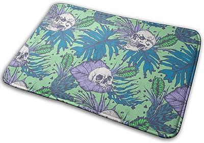 Skulls and Purple Leaf Carpet Non-Slip Welcome Front Doormat Entryway Carpet Washable Outdoor Indoor Mat Room Rug 15.7 X 23.6 inch