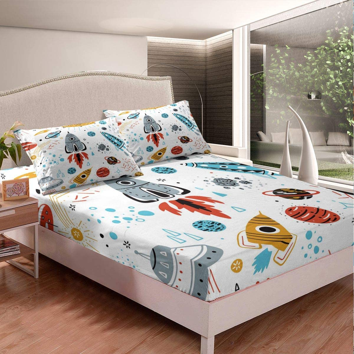 Kids Space Rocket Manufacturer direct delivery Bedding Set Planet Boys Sheet Brand new Universe Fitted