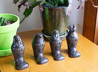 """Discoveries Egyptian Imports - Footed Canopic Jars Black Matte - Set of 4-4"""" - Made in Egypt"""
