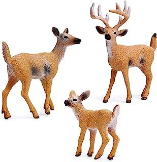 Best RESTCLOUD Deer Figurines Cake Toppers, Deer Toys Figure, Small Woodland Animals Set of 3 Review