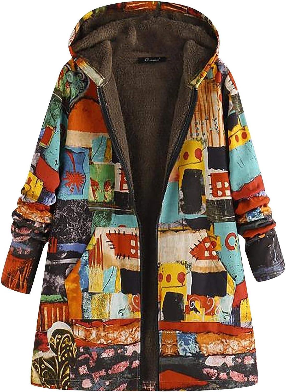Women's Plus Size Coat Winter Warm Hooded Buttons Jacket Vintage Landscape Print Long Sleeve Fleece Thick Trench Coats