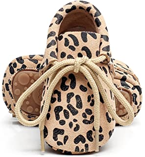 HONGTEYA Leather Baby Moccasins Lace Up Rubber Sole Crib Toddler Boots Shoes for Boys and Girls (US7M 18-24Months 14cm 5.51 Toddler, Leopard)