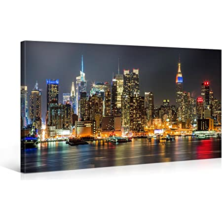 Large Canvas Print Wall Art Manhattan Night Lights 40 X 20 Inch Canvas Picture Stretched On Wooden Frame New York City Cityscape Giclee Canvas Printing Hanging Wall