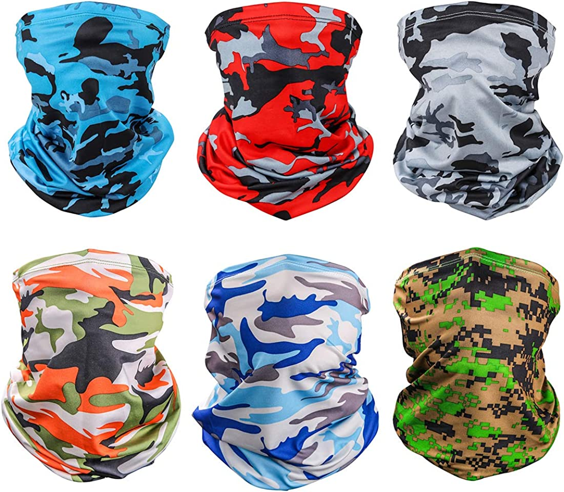 6 Pieces Sun UV Protection Face Mask Neck Gaiter Windproof Scarf Sunscreen Breathable Bandana Balaclava for Sport&Outdoor (Camouflage(6 Pack))
