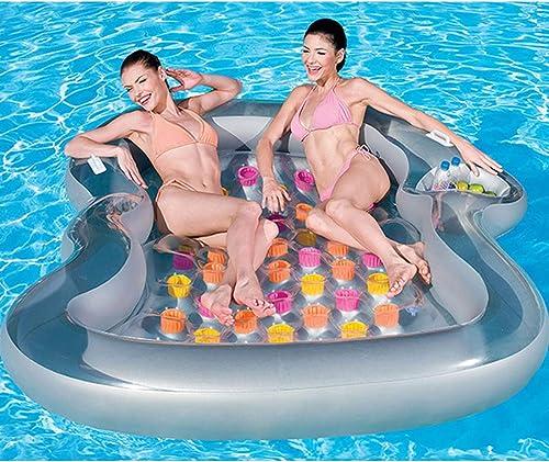 XWQXX Aufblasbares aufblasbares schwimmendes Bett mit schwimmendem Pult Pool-LoungerFloat-H ematte Aufblasbare Fl  Schwimmbecken-Luft Leichter Schwimmstuhl Kompakt und tragbar,TranSpaßent-OneGröße