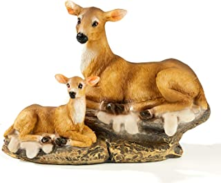 FRTCV Mini Deer Statue Micro Landscape Home Decoration Gift Arts Ornament Table Decor Fairy Garden Animals (5.1 Inch Height)
