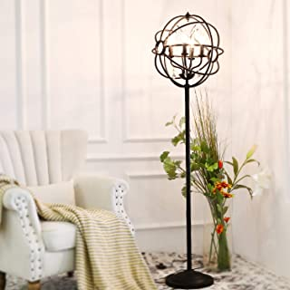 LALUZ Floor Lamp Modern Orb Standing Light with Crystal Pendant, Black Painting Finishes for Office, Living, Reading Room A03132