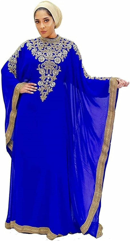 Royal Blue Moroccan Kaftan Farasha Jalabiya Gown Maxi Dress Embroidered Dresses (2X-Large)