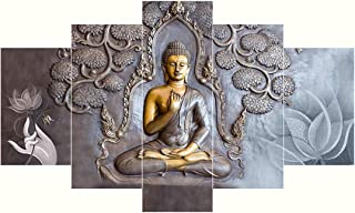 Saumic Craft Set Of 5 Lord Gautama Buddha 3D MDF Framed Uv Coated Painting For Wall For Home Décor Decortations And Giftin...