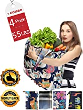 Reusable Grocery Bags Foldable Bulk Large Insulated Reusable bags grocery personalized lightweight Washable Waterproof Reusable Shopping bags 4 Pack Environmental