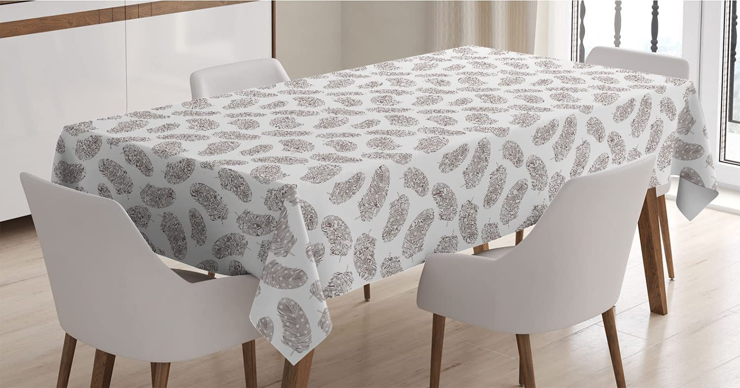 Lunarable Boho Tablecloth Colorado Springs Mall Print of Brand new with Dots Bohemian Feathers
