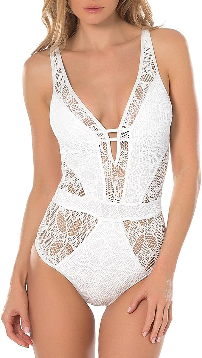 Becca by Rebecca Virtue Women's Color Play Crochet Plunge One Piece Swimsuit