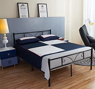 GreenForest Bed Frame Full Size with Headboard and Stable Metal Slats Boxspring Replacement Double Platform Mattress