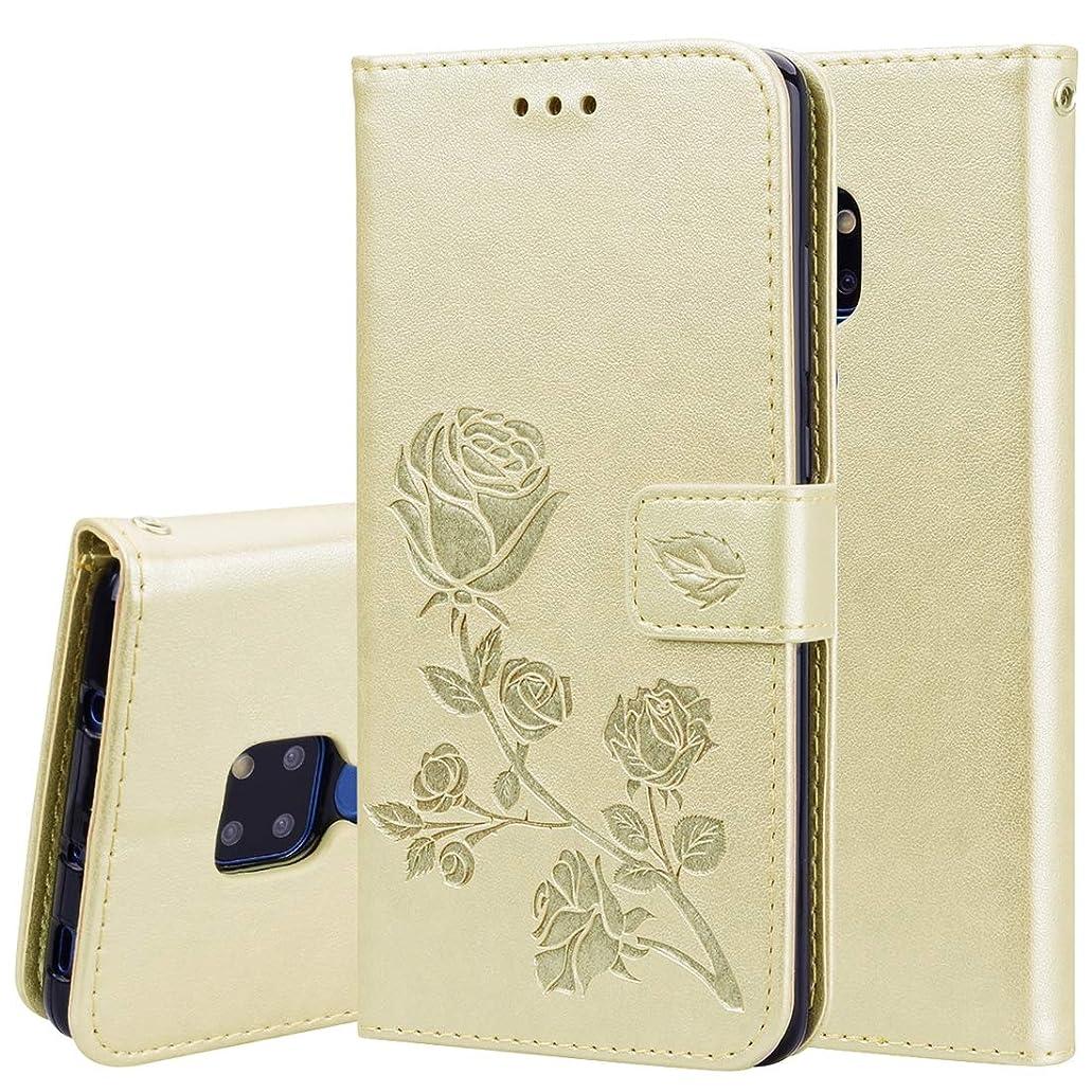 無効溶かすタブレットWTYD 電話アクセサリー Huawei社メイト20のためのローズエンボス水平フリップPUレザーケース、ホルダー&カードスロット&財布付き 電話使用 (Color : Gold)