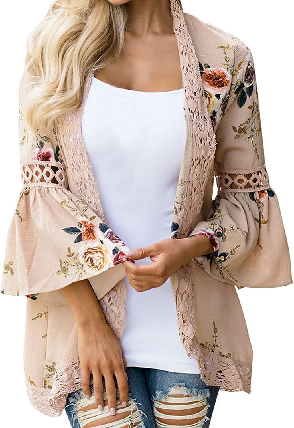 Women's 3/4 Ruffle Sleeve Chiffon Cardigan Lace Trim Open Front Blouse Floral Printed Hollow Out Beach Cover Up