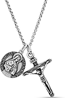 Steve Madden Men's Oxidized Saint Medallion Design and Crucifix Double Pendant Chain Necklace in Stainless Steel, Silver, 28