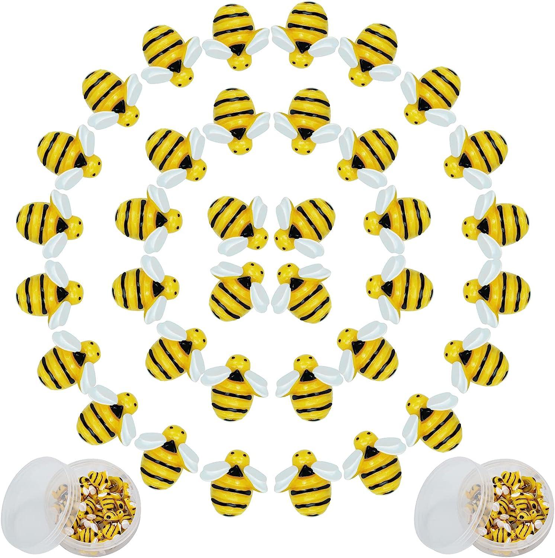 Cute Push Pins Bees Hive Decor - 60 Pieces, Hmxpls Bumblebee Office Classroom Border Decor, Thumb Tack Bumble Bee Decorations Corkboard & Sunflower Bulletin Board Border, Crafts Office Supplies