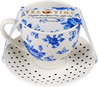 Thoughtfully Gifts, Tea Time Gift Set, Includes Cup, Saucer and 4 English Breakfast Tea Bags
