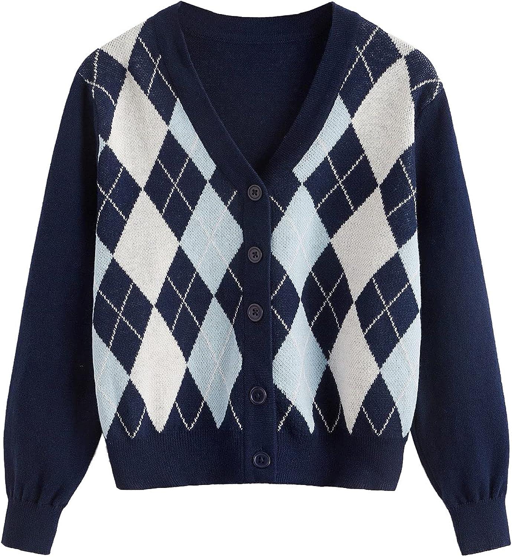 MakeMeChic Girl's Plaid Long Sleeve V Neck Argyle Button Up Cardigan Sweater