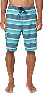 O'NEILL Men's Water Resistant Ultrasuede Classic Swim Boardshort, 21 Inch Outseam (Mint/Santa Cruz Stripe, 33)