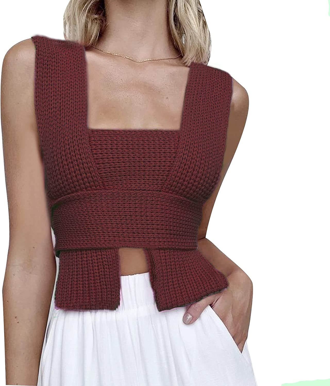 Women Rib Knitted Crisscross Halter Neck Crop Top Lace Up BandageTank Top Basic Backless Y2K Cami Vest