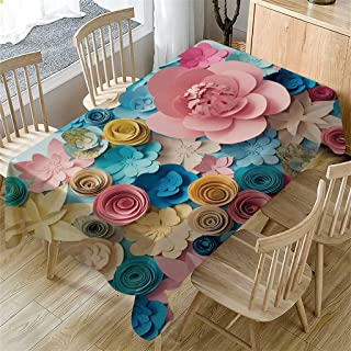 doublesmt Primeval 3D Flower Table Cloth Coffee Table Cover Rectangular Outdoor Patio Table Cover Lawn Table Cover Dining Home Decor 55
