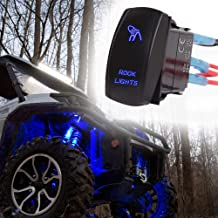 Xislet 5-Pin ROCK LIGHTS Rocker Switch Toggle Button for UTV ATV Polaris RS1 Ranger RZR Can-Am X3 Spyder F150 Truck Jeep Rocker Switch, Blue LED Light with Instruction and Jumper Wire