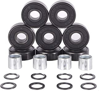 Redsia Skateboard Bearings ABEC 11 Precision 608 2RS with Spacers and Speed Washers for Longboard, Mini Cruisers, Scooter, Roller Skates, Inline Wheels (Set of 8 Pcs)