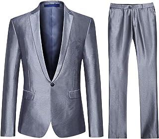 542a49d005d YFFUSHI Mens One Button Formal 2 Piece Suits Slim Fit Multi-Color Wedding  Tuxedo
